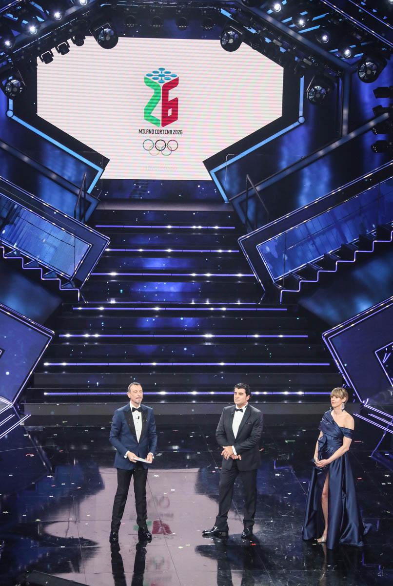 SANREMO (IMPERIA) 6 MARZO 2021 SERATA FINALE DEL 71 FESTIVAL DELLA CANZONE ITALIANA DI SANREMO  NELLA FOTO AMADEUS - ALBERTO TOMBA - FEDERICA PELLEGRINI