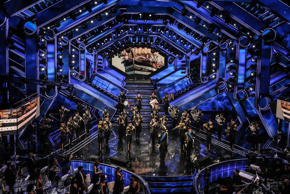SANREMO (IMPERIA) 6 MARZO 2021 SERATA FINALE DEL 71 FESTIVAL DELLA CANZONE ITALIANA DI SANREMO  NELLA FOTO BANDA MARINA
